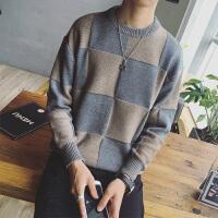男款毛衣修身格子拼接毛衣青少年韩版个性休闲秋装