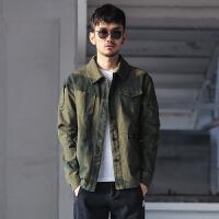 春装新款 日系男士纯色工装衬衫夹克 多口袋修身翻领短款外套