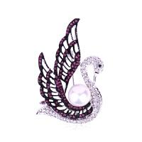 暖色水晶天鹅胸花 甜美珍珠胸针饰品 L8