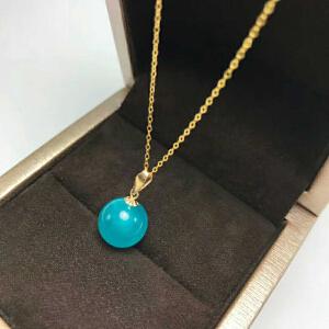 18K金镶嵌冰种天河石圆珠项链坠(不含项链)【AHH】