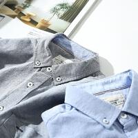 听风春季日系修身纯色牛津纺长袖衬衫男青少年休闲衬衣男外穿上衣
