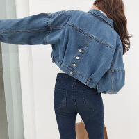 【开学季大促 满199减100】2018春季新款韩版落肩袖牛仔夹克女士牛仔外套 宽松长袖牛仔衣