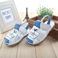 夏季男宝宝童鞋男童凉鞋儿童牛皮小童包头沙滩凉鞋