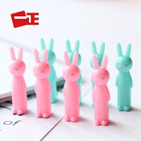 一正创意文具卡通可爱兔子笔帽4支装铅笔盖延长器握笔器