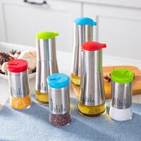 不锈钢手控油壶酱油醋瓶调味瓶密封防漏玻璃油醋壶