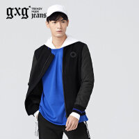 gxg.jeans男装冬季黑色拼接修身常规棒球服立领夹克外套64621099