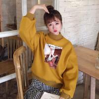 卡通卫衣女秋冬新款原宿个性贴画宽松套头半高领学生上衣外套