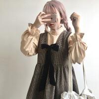 秋冬女装韩版学生ulzzang蝴蝶结毛呢高腰背带裙长袖连衣裙小清新