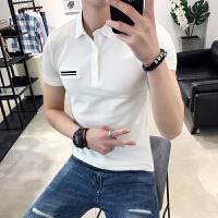 短袖POLO衫男夏季潮流青年新款2018修身翻�IT恤�n版休�e男�b�w恤