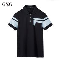 GXGPOLO衫男装 夏季男士时尚潮流休闲都市修身款藏青色短袖POLO衫