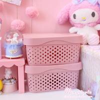 粉色收纳塑料收纳筐可叠加有盖桌面整理盒储物篮镂空软妹少女收纳