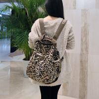 阎双创造 新款民族风专柜女包 2093-3豹纹韩版丝光棉麻帆布包 大容量旅行运动背包学生书包
