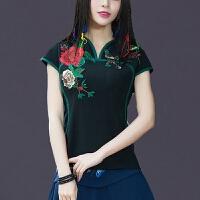 民族风绣花女装上衣 中国风夏装复古刺绣短袖T恤女修身改良女衬衫