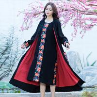 春装新款民族风女装绣花大口袋棉麻民族风中长款外套宽松大衣