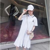连衣裙夏2018新款学院风保罗polo领短袖长款学生休闲鱼尾T恤裙子 白色 S