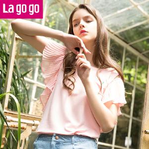 【商场同款】Lagogo拉谷谷2017年夏季新款时尚百搭圆领纯色短袖T恤GATT354C07