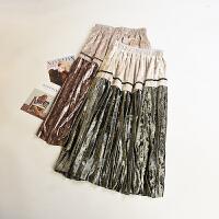 优雅气质 冬季新款女装韩版拼色松紧腰金丝绒半身裙MY361
