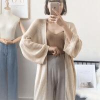 【羊绒】针织衫长袖秋开衫毛衣外套女韩版2018新款中长款宽松