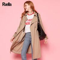 女式风衣秋季新款韩版休闲小个子中长款长袖卡其色双排扣收腰外套