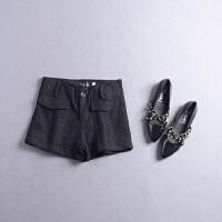 FSK#22秋冬季新款高腰气质纯色双口袋阔腿休闲裤短裤