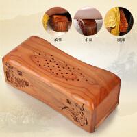 桃木枕头原木硬枕按摩护颈椎枕头实木雕刻送中药包