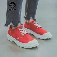 米乐猴 潮牌港仔秋季新品帆布马丁鞋男士增高小白鞋高帮潮鞋红色布鞋男男鞋