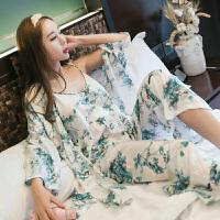 2018新款春秋季韩版甜美性感吊带睡衣女士三件套装可爱纯棉家居服2018新品 W72017#水墨画