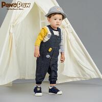 【3件4折 到手价:199】Pawinpaw卡通小熊童装秋男宝宝卡通贴布牛仔背带长裤