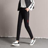 高腰外穿运动休闲羽绒裤冬季大码保暖加厚修身显瘦打底时尚棉裤女 黑色