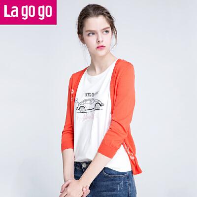 Lagogo/拉谷谷2017年夏季新款时尚百搭字母印花针织衫GAMM714A25
