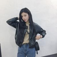 小款皮衣女秋冬新款韩版bf短款PU皮外套学生夹克开衫机车服酷酷的