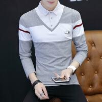 衬衫领男士长袖t恤韩版潮流秋衣服假两件青年男装百搭外穿打底衫