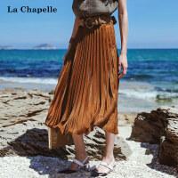 拉夏贝尔2017夏季新款纯色简约风琴褶百褶裙半身裙中长款女士百搭10013032