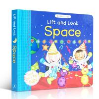 英文原版 Lift and Look Space 纸板翻翻书 在太空上看到了什么?英文启蒙学习 What Who的句型