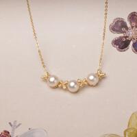 蝴蝶恋天然淡水真珍珠项链 纯银镀黄金套链镶钻 时尚生日礼物 白色系 银镀黄金40+5厘米