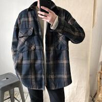 2018春装韩版男士复古格子磨毛宽松长袖衬衫百搭潮男衬衣外套上衣