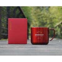 金色银色黑色红色复古不锈钢马克杯桌面杯水杯咖啡杯礼盒装 红色不锈钢(有礼盒) 355ml