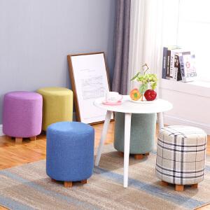 门扉 凳子 实木布艺凳子家用成人餐凳时尚创意化妆梳妆凳简约现代北欧小板凳