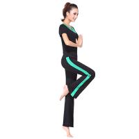 广场舞服装新款套装瑜伽健身服女条纹拼接莫代尔大码春夏