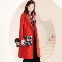 冬装新品 西装领顺毛呢外套宽松长款羊毛大衣S640311D00