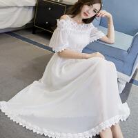 雪纺连衣裙夏季新款韩版中长款一字肩蕾丝露肩修身显瘦沙滩长裙子