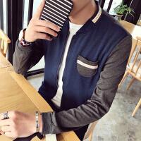 春季新款韩版男士立领夹克外套青少年撞色拼接潮男装学生上衣