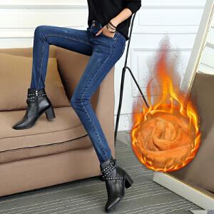 SOOSSN 2018秋冬新款加绒牛仔裤修身女小脚裤铅笔裤弹力裤显瘦女装铅笔长裤585加绒