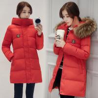 2017冬装新款韩版羽绒服女中长款加厚修身貉子毛大毛领羽绒外套h