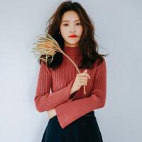 春装新款半高领长袖针织衫chic喇叭袖套头毛衣韩版女装保暖打底衫 均码