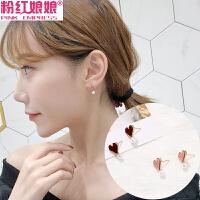 韩国少女爱心形耳钉女设计可爱个性气质复古迷你仿珍珠耳环耳饰品