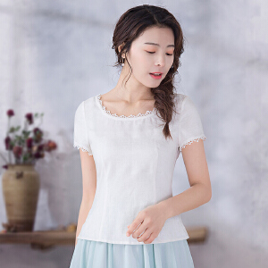 烟花烫 短袖女2018新款夏装简约文艺纯色收腰显瘦白色t恤 梅隐