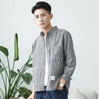 春季日系文艺小清新灰白竖条纹衬衫男长袖宽松韩版学生bf青年衬衣
