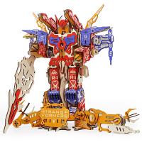 儿童战斗飞机模型立体拼图圣诞节礼物木质手工制作变形机器人玩具