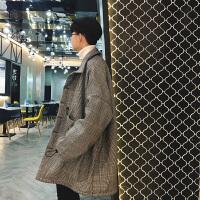 2018春新款中性男士学生装羊羔毛千鸟格棉衣休闲外套潮宽松韩版